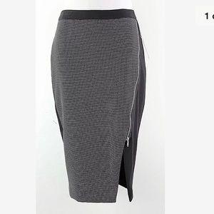 Black White Pencil Skirt Dot Zipper SZ 12 check